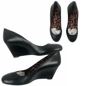 Jessica Simpson Wedges Size 6.5 Black Leopard Pump